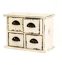 Antique White Style Wooden Table Top 4 Drawer Storage Unit Chest w/ Metal Pulls