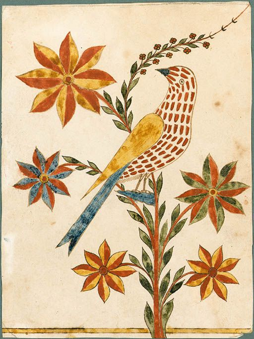Attributed to THE ROCKHILL TOWNSHIP ARTIST, Bucks County, Pennsylvania, early 19th century  Fraktur -  A Presentation Drawing of a Bird,   depicting an elaborate bird with red-dotted body, yellow wing and blue tail perched on a stylized swaying red branch issuing green leaves, five graduated red and yellow and red and blue spikey petalled flowers and terminating in similarly colored trailing buds,  watercolor and ink on paper