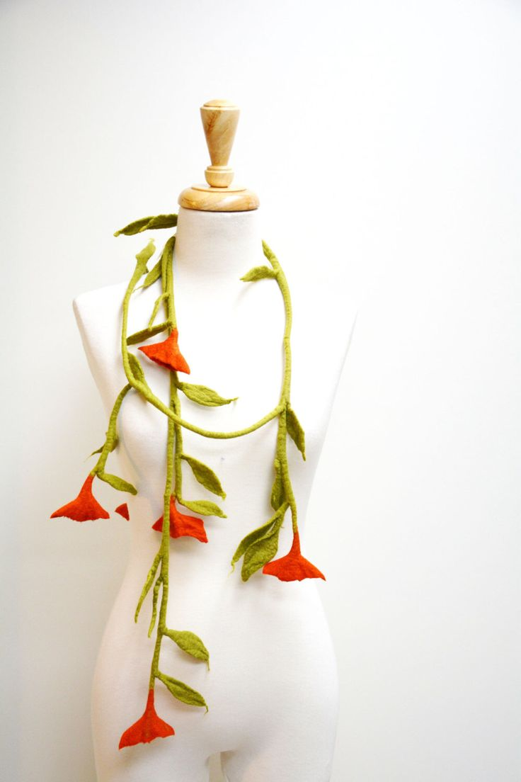 Light Green Vine and Orange Felt Flower Necklace / Felt Flower Scarf by TheWinterElephant on Etsy https://www.etsy.com/listing/261654327/light-green-vine-and-orange-felt-flower