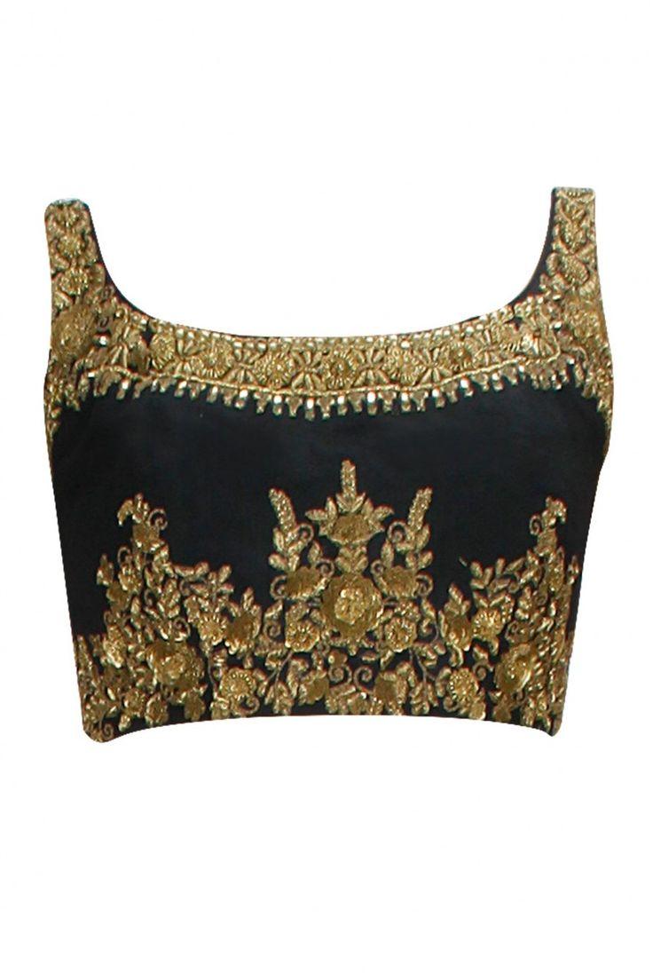 Gold embellished black raw silk blouse