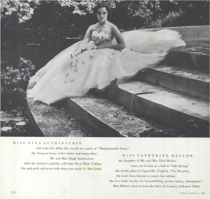 Nina Auchincloss in an Ann Lowe dress in the August 1, 1955, issue of Vogue