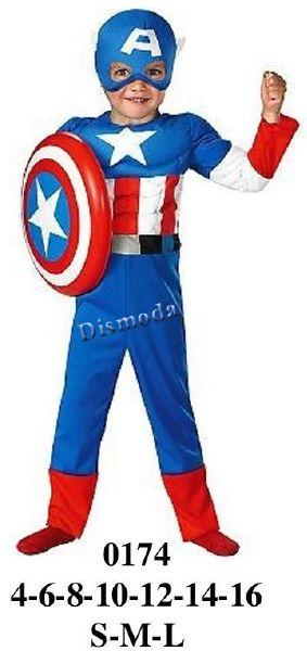 0174 Disfraz de Capitan America. Telas: Interlux, Jersey poliester. Consumo talla 10: Azul: 1.50 mts. Rojo: 50 cms. Blanco: 35 cms. aprox.