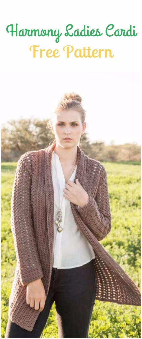 Crochet Harmony Ladies Cardigan Free Pattern - Crochet Women Sweater Coat & Cardigan Free Patterns