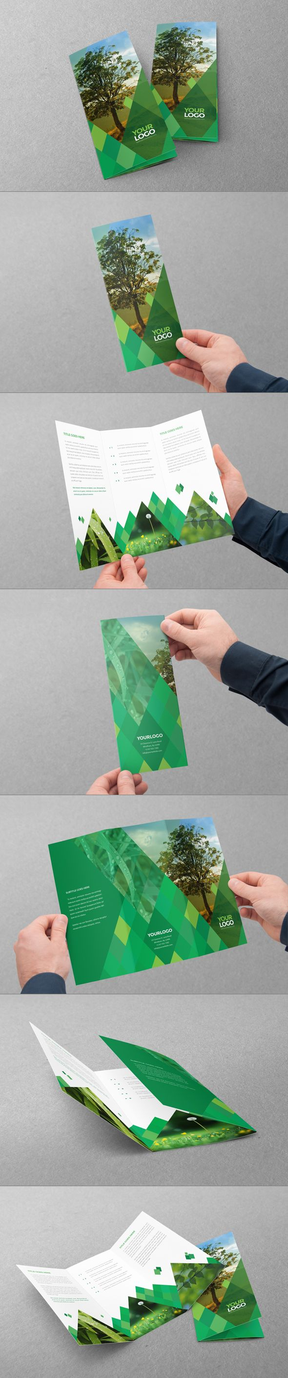 Green Diamonds Trifold. Download here: http://graphicriver.net/item/green-diamonds-trifold/7438199?ref=abradesign #design #trifold #brochure
