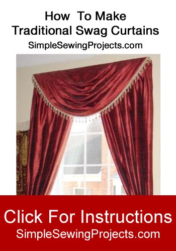 how to make traditional swag curtains swag curtains and valance. Black Bedroom Furniture Sets. Home Design Ideas