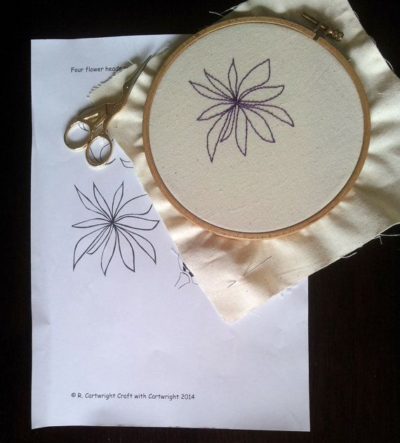 Embroidery pattern Flower heads blooms by CraftwithCartwright