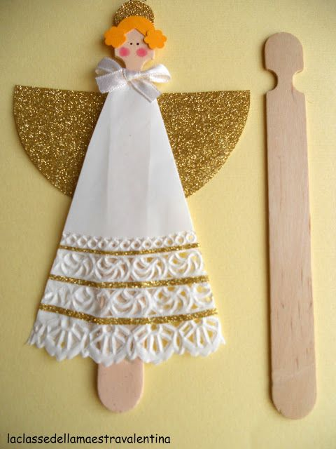 DIY Angels  with popsicle stick and doily. how simple, great kids craft.