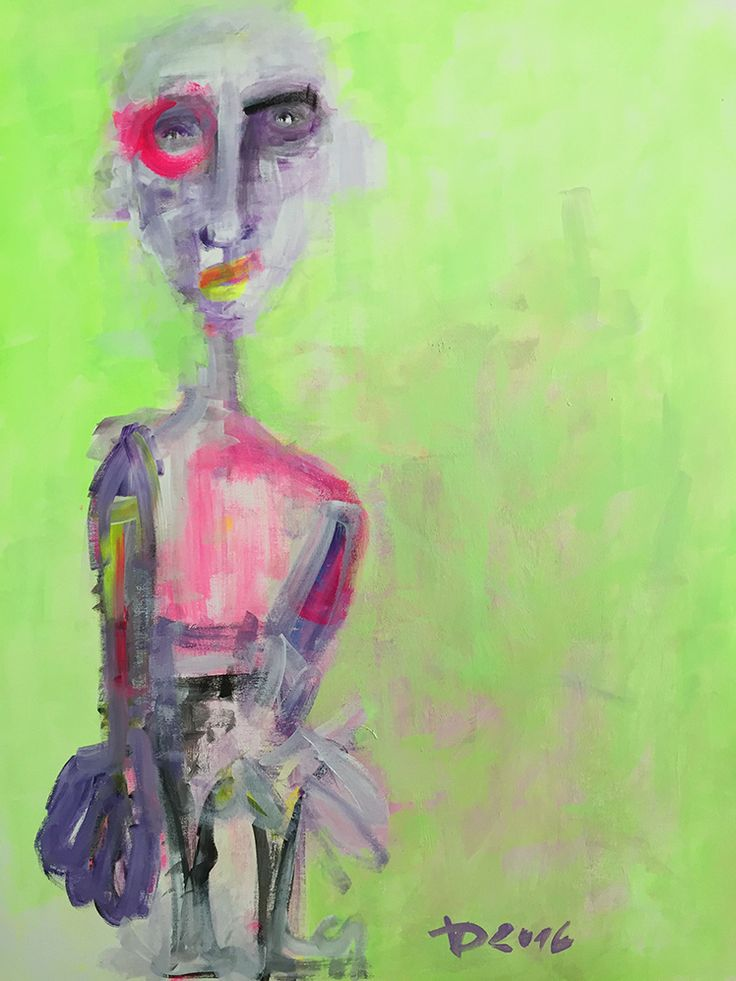 Acrylic Painting, Self-portrait, modern art, abstract painting, crazy portraits, head, green,pink, black, ultraviolet