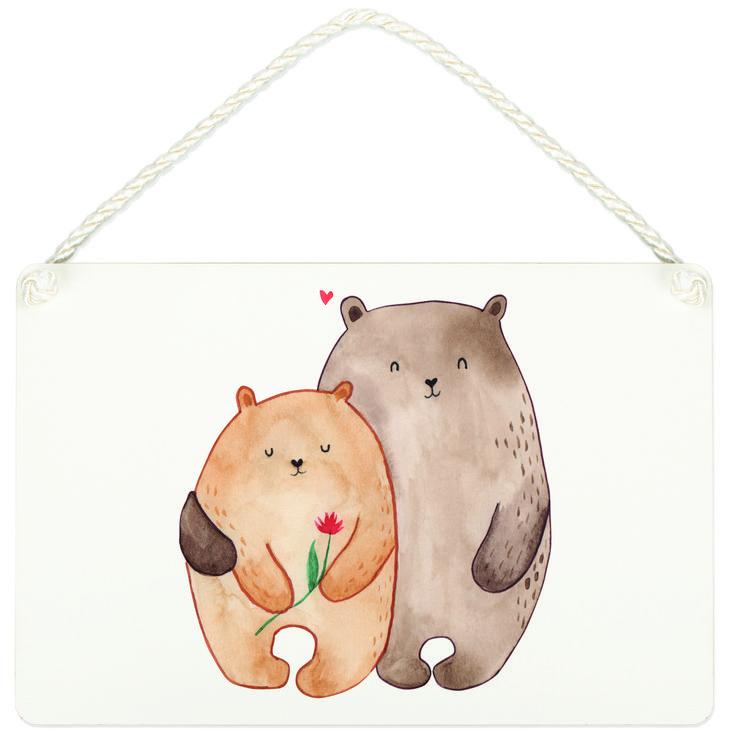 Deko Schild Bären Liebe aus MDF  Weiß - Das Original von Mr. & Mrs. Panda.  Ein wunderschönes Schild aus der Manufaktur von Mr. & Mrs. Panda - die Schilder werden von uns direkt nach der Bestellung liebevoll bedruckt und mit einer wunderschönen Kordel zum Aufhängen versehen.    Über unser Motiv Bären Liebe  Das Gefühl verliebt zu sein und seinen Verbündeten gefunden zu haben ist unbezahlbar.  Die verliebten Bären überbringen für dich eine ganz süße Botschaft...    Verwendete Materialien…