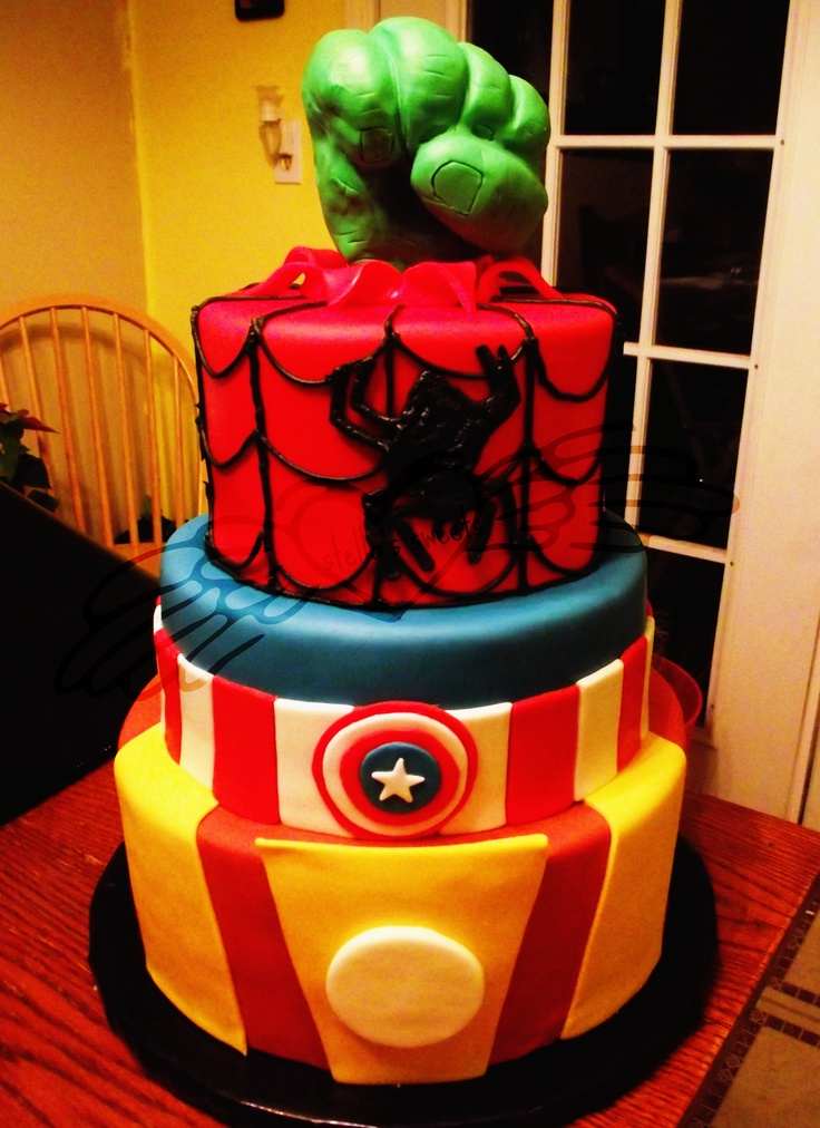 avengers cake, 3 cake tiers hand made from RKT My kids ...