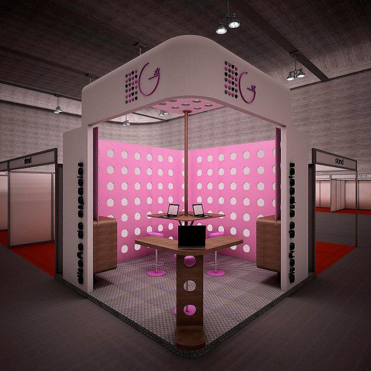 Proyecto de stand con semitecho. muebles para catálogos, zona de atención rápida y zona de atención personalizada