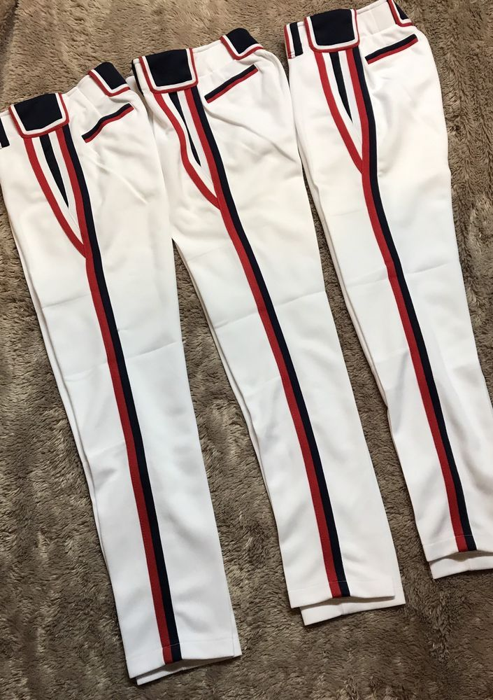 c6a4252234f8 Boombah Youth Baseball Pants White NWOT Size 24X30 Red Blue Stripes Lot Of  3 #Boombah