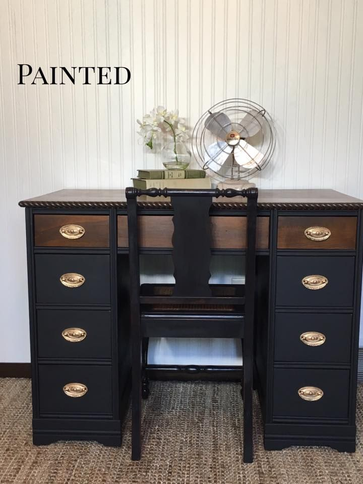 """This desk is a true beauty with it's two-toned style.  I loved it so much that I decided to keep it for myself.  That rarely happens.  It was painted in Wise Owl Chalk Synthesis Paint in """"Black"""" and sealed with hemp oil.  The wood was sanded and stained using General Finishes Antique Walnut gel Stain and sealed with General finishes HTP gel top coat."""