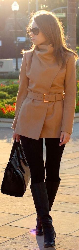 Short camel coat.