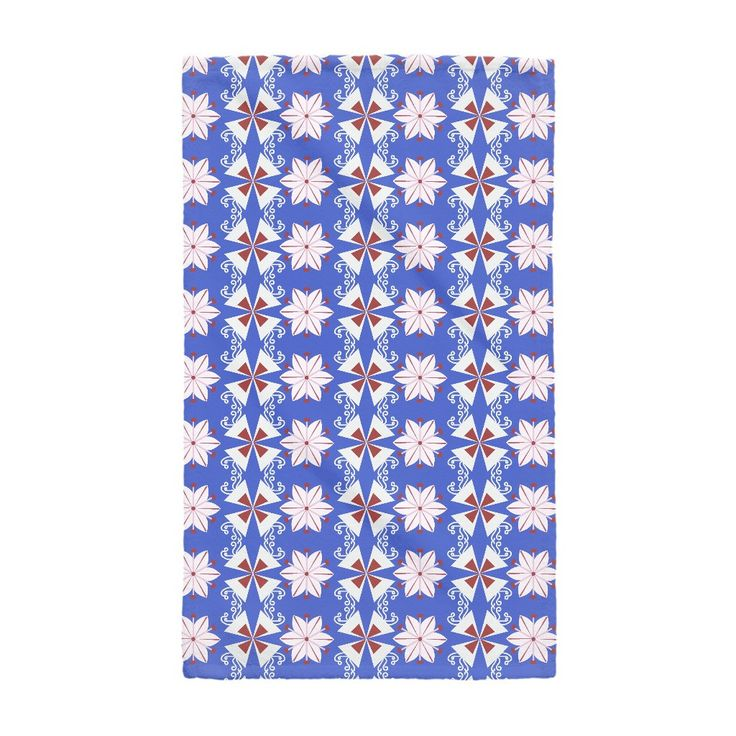 Simple Buckwheat Flowers on Han Blue Hand Towel