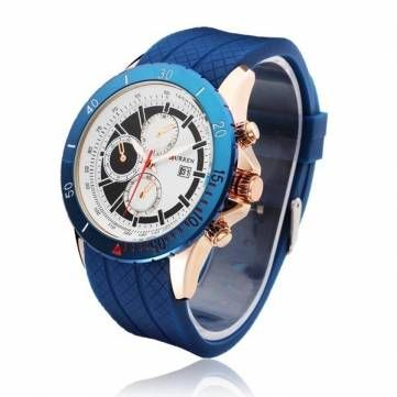 CURREN 8143 Sport Calendar Waterproof 3 Dial Men Wrist Quartz Watch - US$8.99