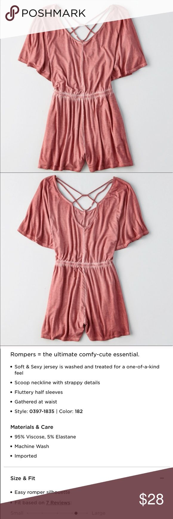 Mauve Strappy Pink American Eagle Romper So cute and so so so comfy! A wardrobe piece that will have you looking stylish but with no effort! A pretty Mauve color and cute Strappy back Detail. Fits loose. Perfect condition new with tags American Eagle Outfitters Pants Jumpsuits & Rompers