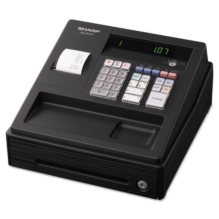 Sharp XE A107 Cash Register Drum Printer 80 Lookups 4 Clerks LED, Grey