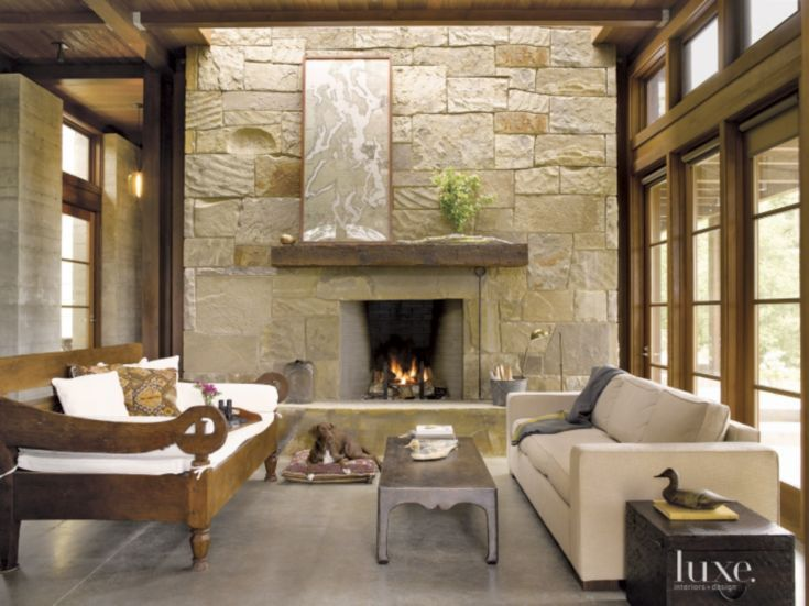 Rustic Fireplace Designs Ideas By Modus: Neutral Mountain Living Room With Stone Fireplace
