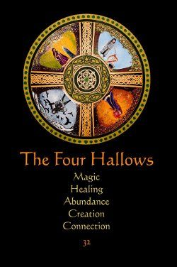 "Book of Shadows:  #BOS the Four Hallows page ~ Mandala Meditations Guidance, with keywords. Artwork ""The Four Hallows or The Four Treasures of Ireland,"" by Marg Thomson."
