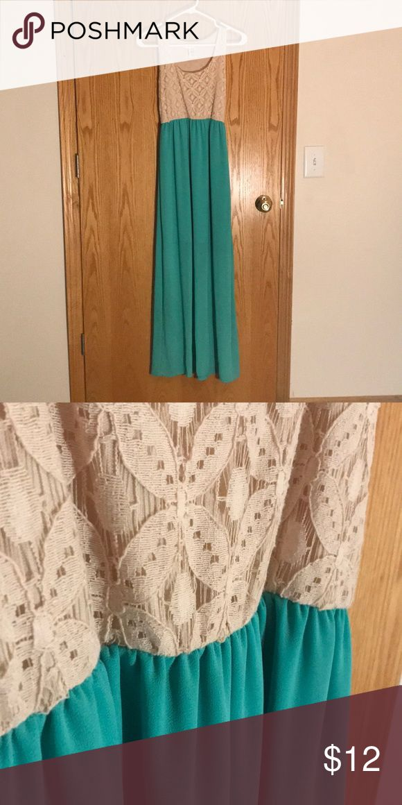 Lace & Teal Maxi Dress, BEAUTIFUL! Off-white lace and teal maxi dress from Agaci. Fitted on the upper body with flow-y skirt. Lightweight cotton & nylon fabric. Dresses Maxi