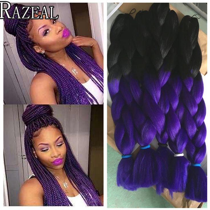 Razeal  Box Braids Kanekalon Synthetic Braiding Hair Ombre Purple Braiding Hair Extensions Xpression Jumbo Hair Crochet Braids