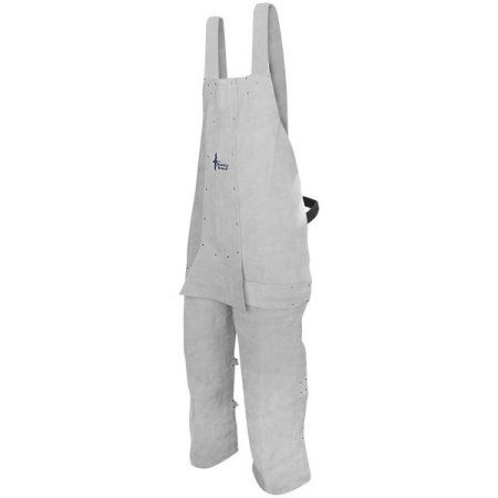 Bob Dale 64-1-61 Welding Apron Leather Split Leg Bib Apron Ankle Length Pearl (Pack of 10), Gray