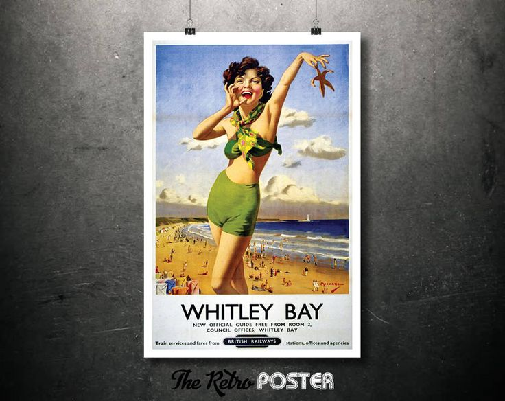 1940s Whitley Bay - British Railways Vintage Travel Tourism Poster // High Quality Fine Art Reproduction Giclée Print by TheRetroPoster on Etsy