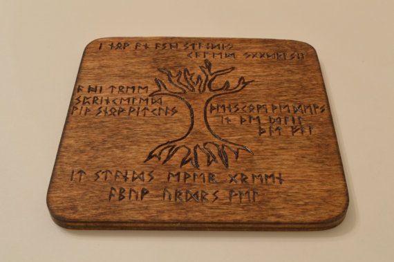 SOLD OUT Hand burned Yggdrasil Edda Quote Plaque. by RaesRuneworks on Etsy, $15.00
