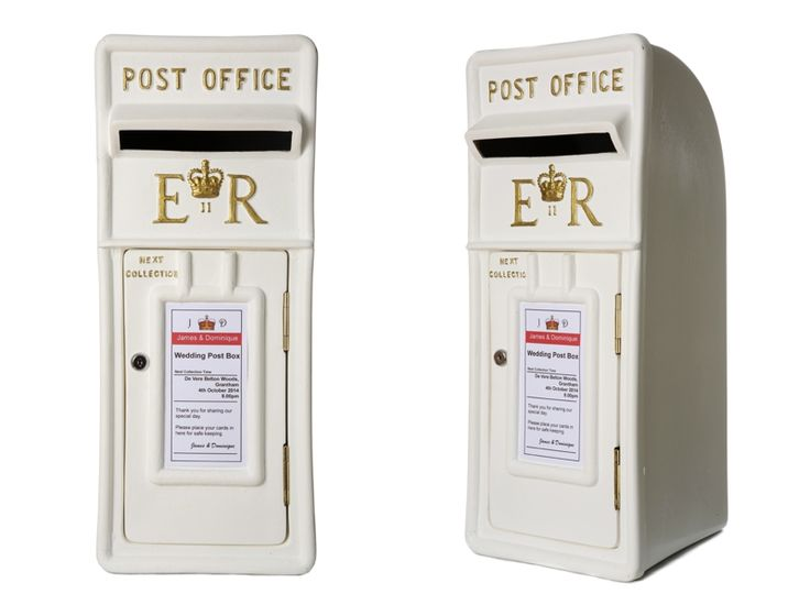 Royal mail post box in white with gold lettering / wedding post box / lockable fun letter box / Royal Mail post box for hire and sale