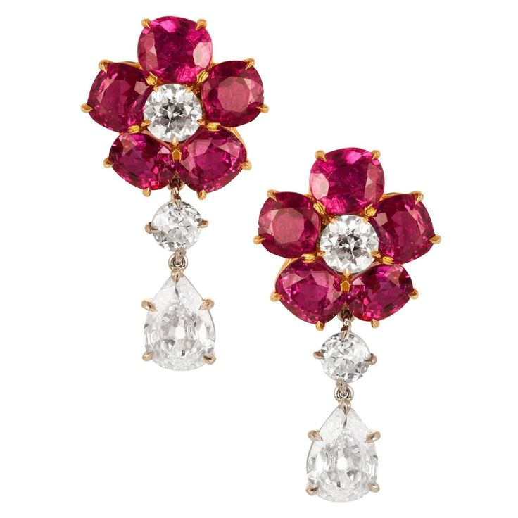 Ruby Diamond gold platinum Earrings | From a unique collection of vintage dangle earrings at https://www.1stdibs.com/jewelry/earrings/dangle-earrings/