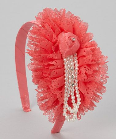 Take a look at this Raspberry Pearl Rosette Headband by Tutus by Tutu AND Lulu on #zulily today!