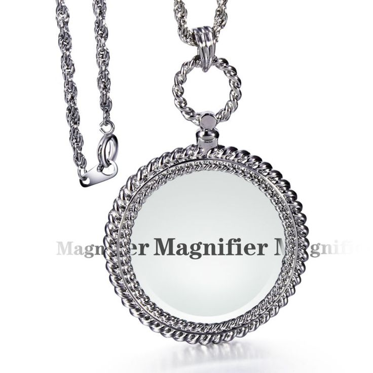 DC1989 Women Optical Chain with 2 Times Magnifier Lens Library Reading for Fine Prints Pendant Necklace Rhodium and Gold Plated