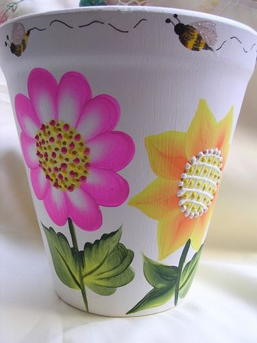 ONE STROKE FLORAL TERRACOTTA FLOWER PLANTER | Flickr - Photo Sharing!