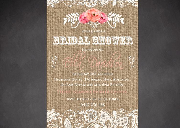 Bridal Shower Invitation ~ Hens Day ~ Doe Show Invites! Burplap Vintage Design, Personalised Digital Print, Print Yourself! by LittleFeetInvites on Etsy