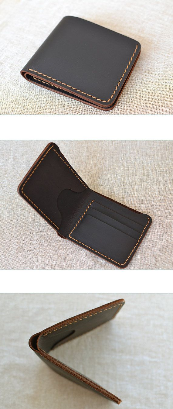 Handmade wallet Mens leather wallet Hand sewing Brown bifold wallet  Gift for men leather  Billfold vintage wallet #W01b