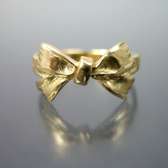 vintage retro 14k gold bow ring