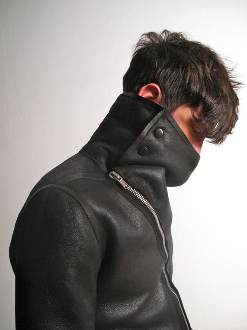 Rick Owens men's stand collar leather jacket with asymmetric zipper ...perfection!