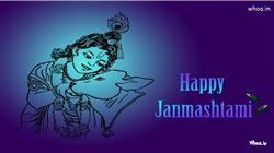Happy Janmashtami Festival Blue Hd Wallpaper,Happy Janmashtami Greetings With Shree Krishna Birthday Greetings For Janmashtami Festival HD Wallpaper