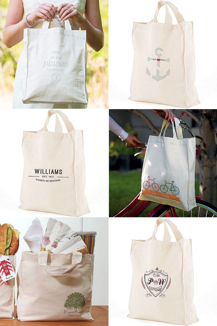 Personalized cotton canvas totes are reusable, eco-friendly gift bags perfect for filling with comfort items, snacks and thank you gifts for your destination, beach, and out of town wedding guests. Everyone will appreciate these thoughtful bags they can use during your wedding weekend, for travel and shopping. These canvas tote gift bags can be ordered at http://myweddingreceptionideas.com/welcome_tote_gift_bags.asp
