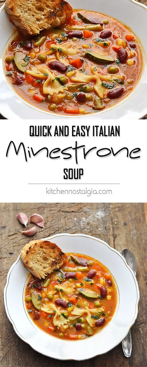Italian Minestrone Soup - quick and easy way to make classic healthy vegetable soup in about 30 minutes!