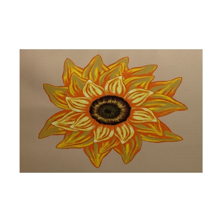 E by Design El Girasol Feliz Flower Print Rug (4 x 6') (Beige), Brown, Size 4' x 6' (Polyester, Floral)