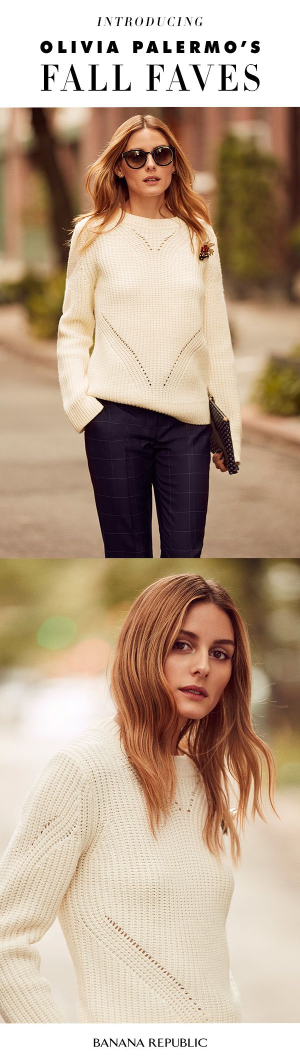 Olivia Palermo wears the Ribbed Pullover for rooftop cocktails on a crisp evening. Equal parts cozy and chic, this sweater will work with skirts and tailored pants alike.