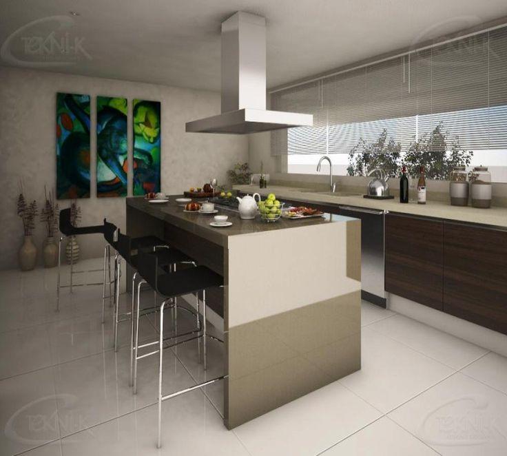 El Diseño De Esta Cocina En Herradura Remata Con Una Isla Con Parrilla Con  Espacio Para