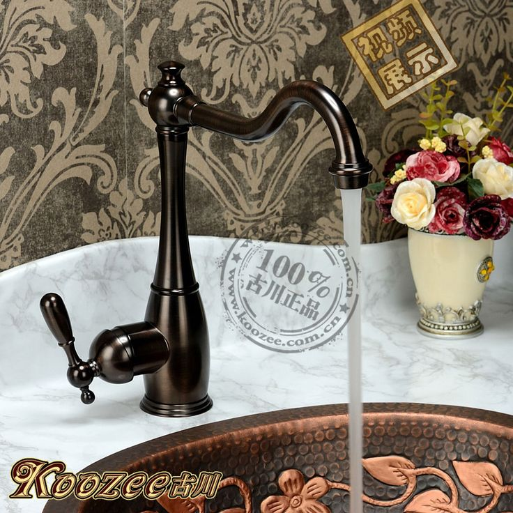 Vintage fashion american antique kitchen faucet black wiredrawing sink copper vegetables basin copper hot and cold #Affiliate