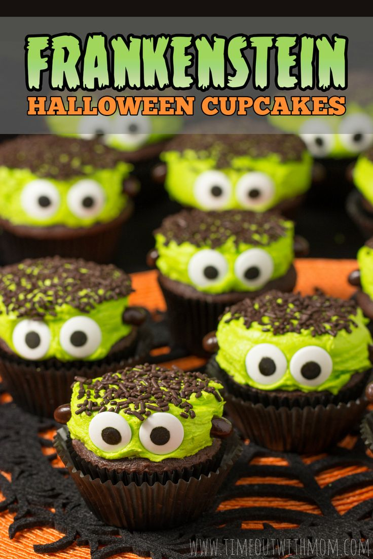 OMG! Frankenstein Halloween Cupcakes. So cute and SUPER EASY!   Timeout with Mom: Frankenstein Halloween Cupcakes - www.timeoutwithmom.com