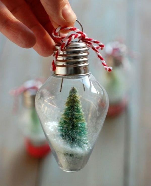 basteln für erwachsene schneekugel mit tanne glühbirne (Cool Crafts Simple)