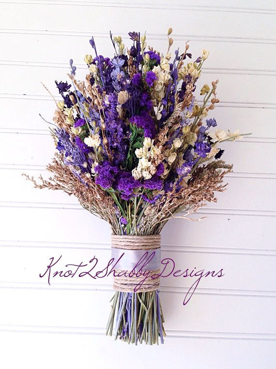 Dried flower bouquet bridal bouquet purple by Knot2ShabbyDesigns