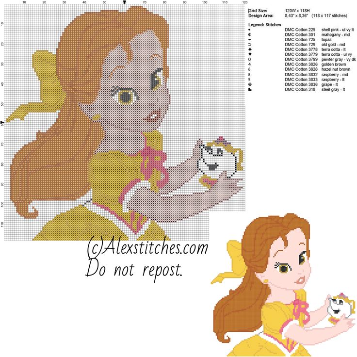 Baby princess Belle Disney free cross stitch pattern 120x118 13 colors