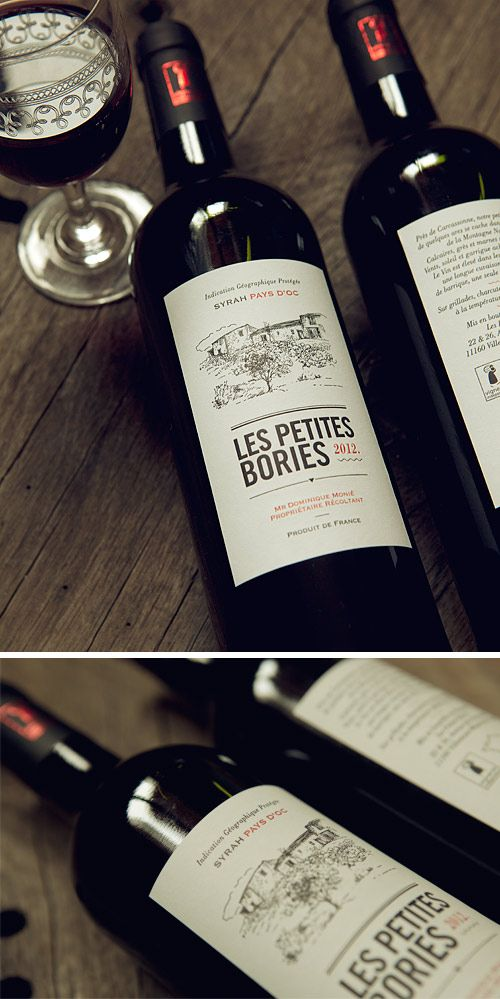 Etiquettes impression typographique 2 couleurs sur papier autocollant / letterpress wine label in 2 colors